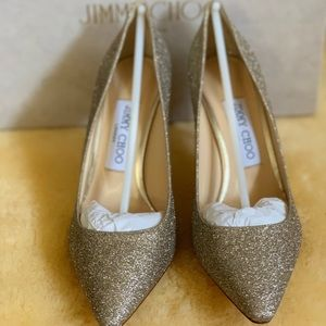 Jimmy Choi Romy 100 Glitter Pointed-Toe Pumps